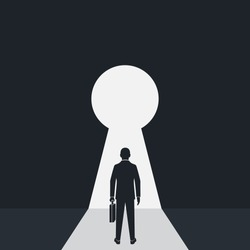 Silhouette businessman in suit standing in front of keyhole. Solution to problem business concept. Man looks at open opportunities. Male walking go to goal. Vector flat design. Isolated background.