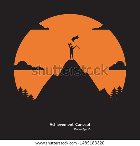 Silhouette businessman of successful. Businessman holding flag and trophy standing on the top of mountain. Achievement, Career, Success concept, Vector illustration flat