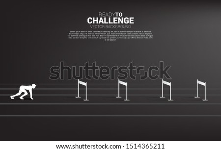 Silhouette businessman ready to run across hurdles obstacle. Background concept for Obstacle and challenge in business Сток-фото ©