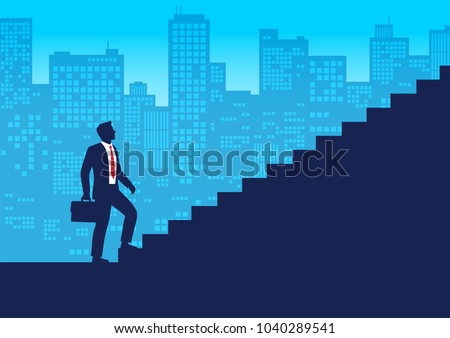 Silhouette businessman start walking up stairway, First step climbing staircases for development,  Business journey concept growth and the path to future success, Flat design vector illustration