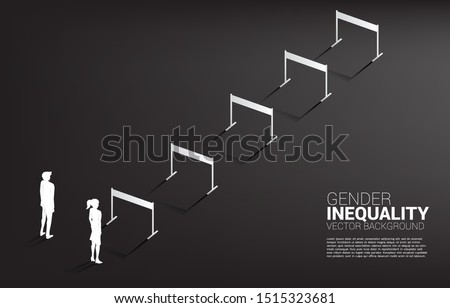 Silhouette businesswoman standing with with hurdles obstacle and businessman  . Concept of gender inequality in business and obstacle in woman career path Сток-фото ©