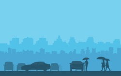 silhouette cars and people with umbrella walking in rain on street and city skyline background