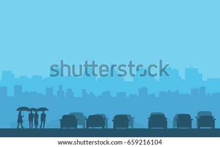 silhouette cars and people with