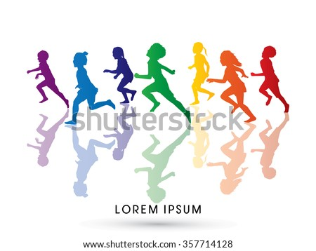 Silhouette Children Running Designed Using Rainbows Colors Graphic Vector