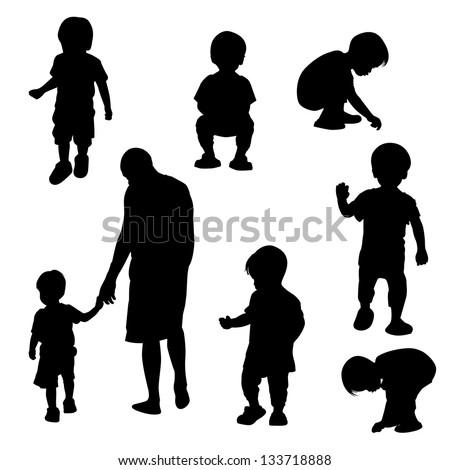 silhouette children vector