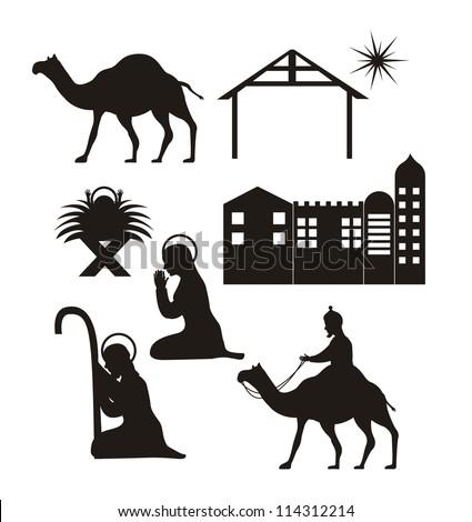 silhouette christmas  nativity