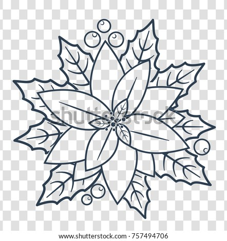 silhouette  Christmas poinsettia flowers. icon in a linear style