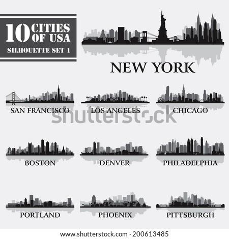 silhouette city set of usa 1 on