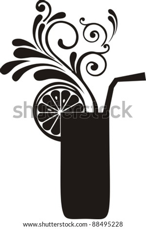 Silhouette cocktail with floral design elements. Drink Menu or Invitation for Parties and Showers. Vector illustration