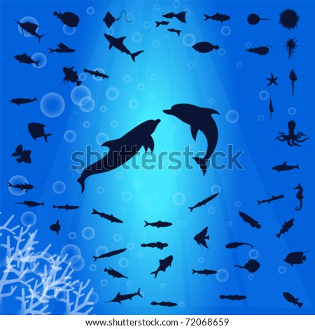 silhouette collection of aquatic life vector