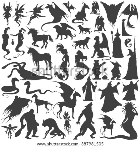 Stock Photo Silhouette collection of mythological people, monsters, creatures: Fairy, elf, nymph,magician,unicorn,gin,dragon,hydra,chimera,mermaid,griffin,sphinx,vampire...Hand drawn vector illustration,set.