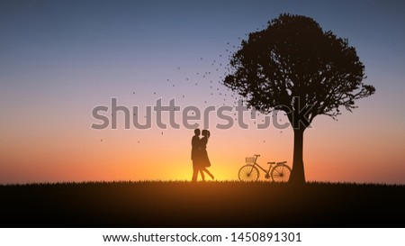 silhouette couple man and woman