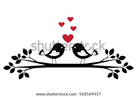silhouette cute birds in love