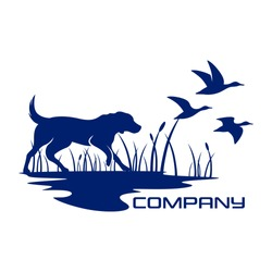 Silhouette dog hunting logo