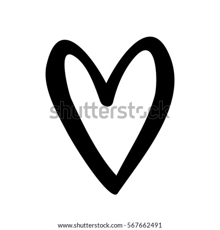 silhouette drawing heart design icon