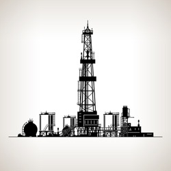 Silhouette Drilling Rig, Oil Rig, Machine which Creates Holes in the Earth, Oil Well Drilling, Vector Illustration
