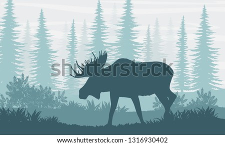 silhouette elk with big horns