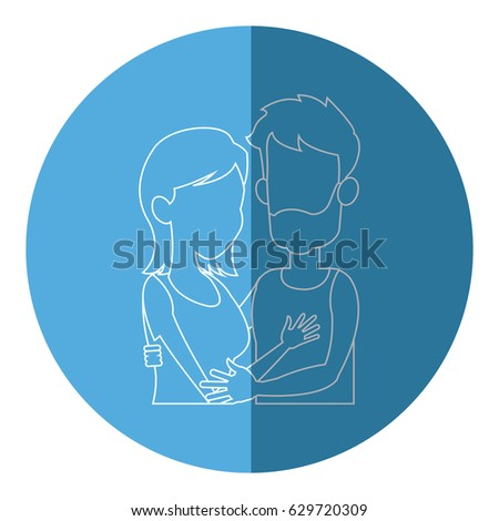 silhouette embracing couple