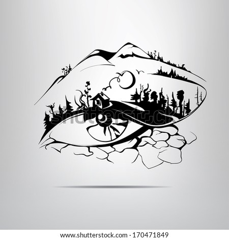 Stock Photo Silhouette eye in the form of the landscape. vector illustration