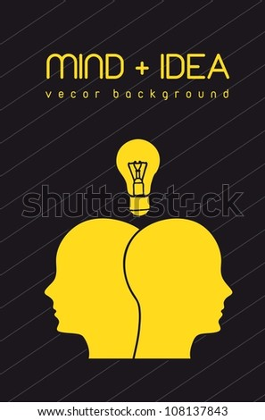 silhouette face with bulb, mind and idea. vector illustration