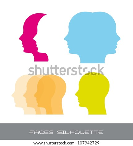 silhouette faces over white background. vector illustration