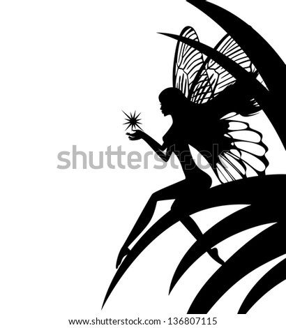 silhouette fairy girl holding a