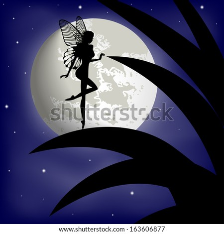 silhouette fairy girl on a