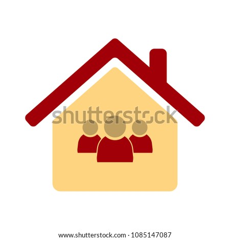 Silhouette family icon and house. Conceptual vector illustration