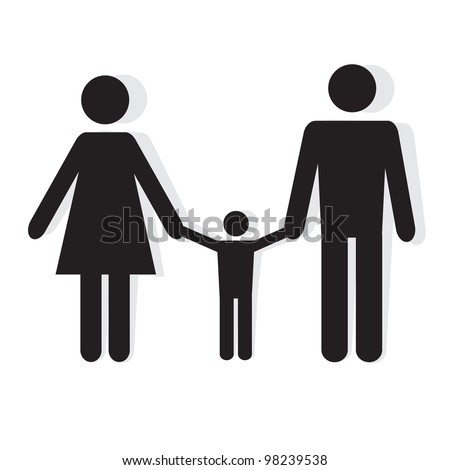 Silhouette family. Icon person, woman, man, kid