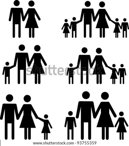 Silhouette family. Icon person, woman, man, kid, child, boy, girl, father, mother, parents symbol. People vector illustration.
