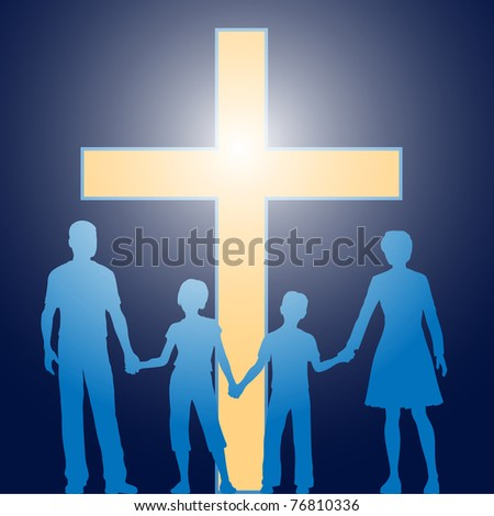 Silhouette family of parents and two children stand in front of bright shining cross - stock vector