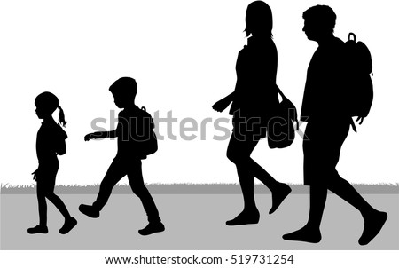 Silhouette Family On A Walk
