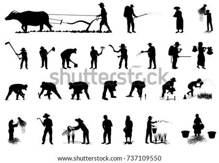 silhouette farmer shape vector