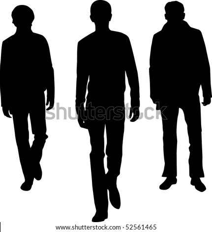 Silhouette fashion men - stock vector