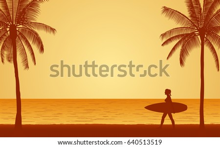 silhouette female surfer