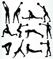 silhouette fitness girl vector
