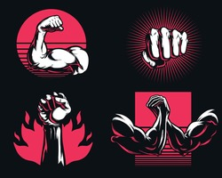 Silhouette fitness gym bodybuilding arm hand icon logo mixed martial art mma vector illustration isolated