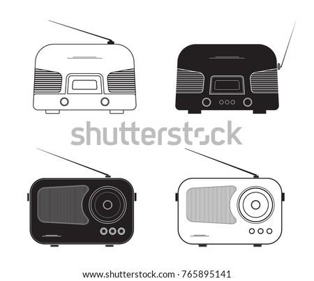 Silhouette flat design, vector radio set. Various retro radio receivers. Illustration for music, nostalgia and broadcasting.