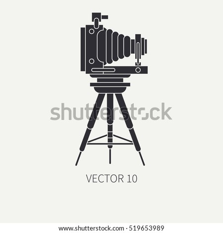 Silhouette flat vector icon with retro analog film cameras. Photography and art. Reflex 35mm photocamera. Cartoon style. Illustration, element for your design. Photographic lens. Simple. Monochrome.
