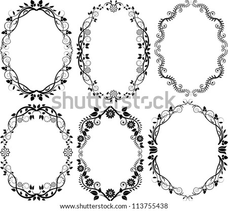 silhouette floral frame - set of vector illustration