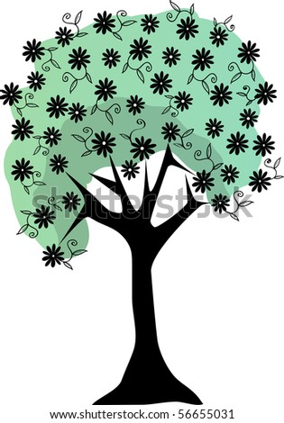 Silhouette Floral Tree Lush Flowers stems and leaves  Editable Vector Illustration