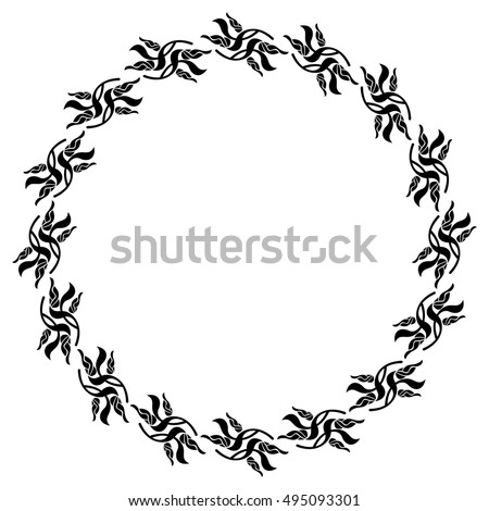 Silhouette flower frame simple black and white round frame with silhouette flower frame simple black and white round frame with abstract flowersctor clip mightylinksfo