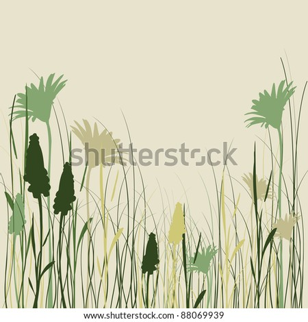 Silhouette flowers and grass in green colors
