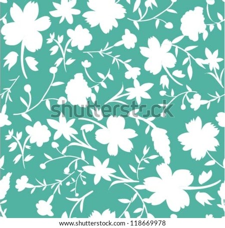 silhouette flowers ,seamless flowers and leaves pattern,chic background