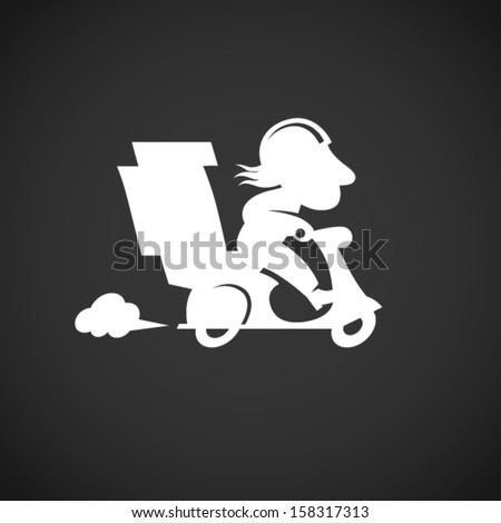 Silhouette funny pizza delivery man on motorbike. Cartoon character in retro style. It can be used for decorating of invitations, cards, menu, decoration for bags and clothes.