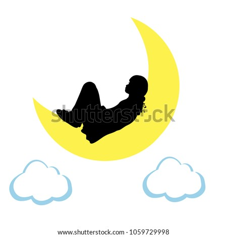 silhouette girl lies on moon