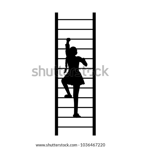 silhouette girl up climbing