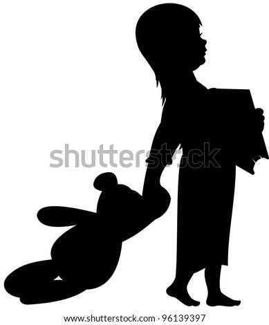 Silhouette girl with teddy bear and book ready for bed or a nap