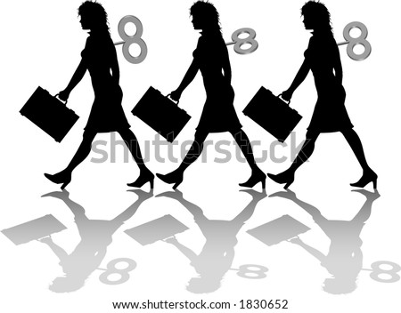 silhouette graphic depicting windup automatons - stock vector