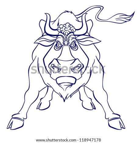 Silhouette graphic of Angry bull. Illustration on white background